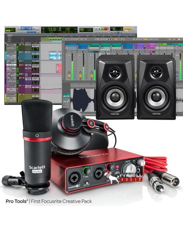 Focusrite Scarlett 2i2 Studio (2nd Gen) Pro Tools First Recording Bundle and Tascam VL-S3 Monitors