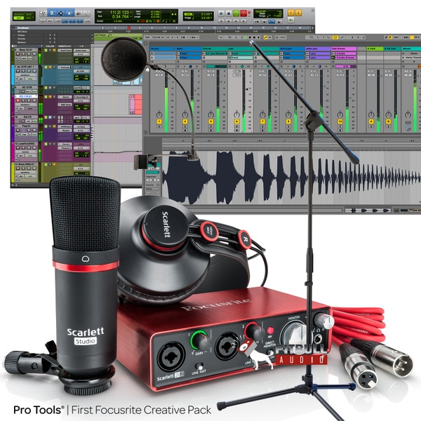 Focusrite Scarlett 2i2 Studio (2nd Gen) Recording Bundle with Pro Tools First, Pop Filter, and Mic Stand