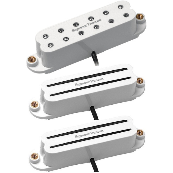 Seymour Duncan SHR-1 Hot Rails for Strat Bridge/Neck Set with SJBJ-1n JB Guitar Pickup - White