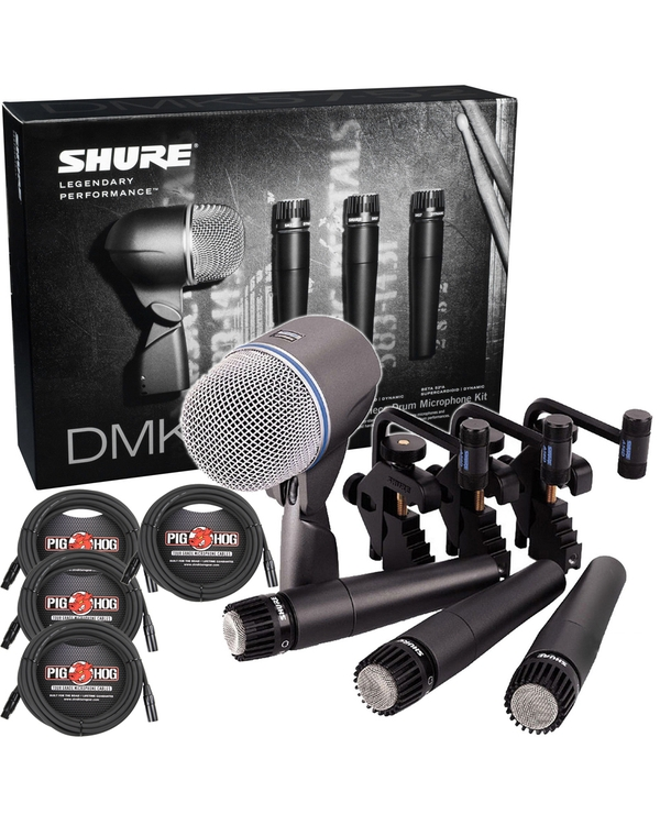 Shure DMK57-52 Drum Microphone Kit and (4) 20 ft XLR Cables
