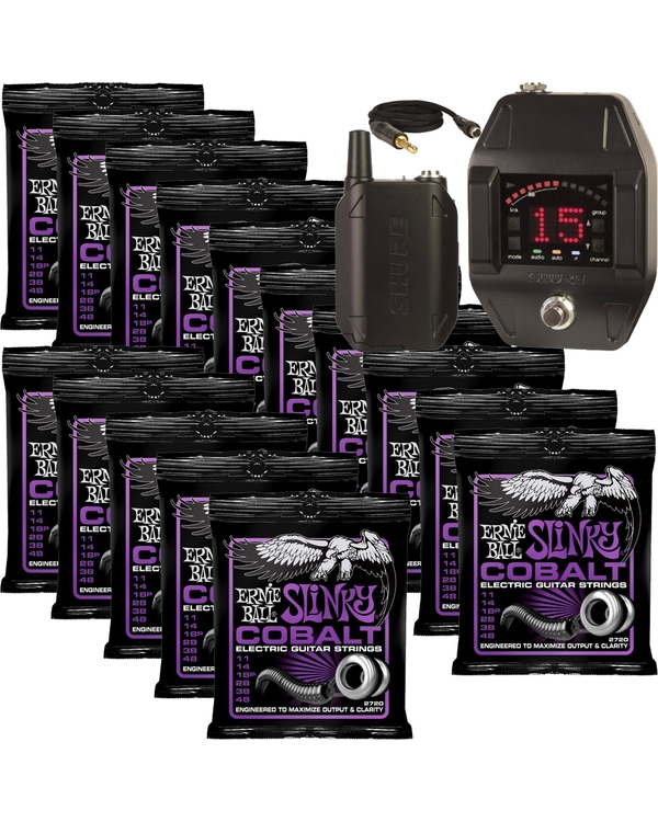 Shure GLXD16 Bodypack Wireless System Z2 with 15 Sets of Ernie Ball 2720 Cobalt Power Slinky Strings