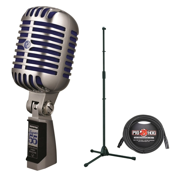 Shure Super 55 Deluxe Vocal Vintage Microphone with Stand and Cable