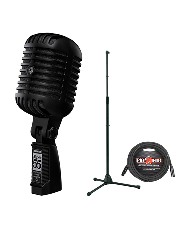 Shure Super 55-BLK Deluxe Vocal Microphone Pitch Black Edition with Stand and Cable