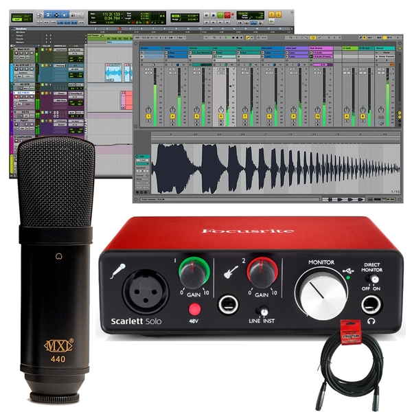 Focusrite Scarlett Solo (2nd Gen) Pro Tools Recording Interface with MXL 440 Microphone and 20' XLR Cable
