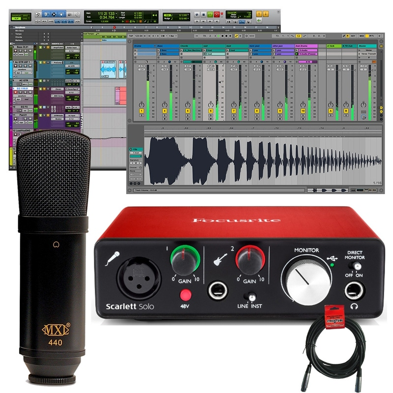 pitbull audio focusrite scarlett solo 2nd gen pro tools recording interface with mxl 440. Black Bedroom Furniture Sets. Home Design Ideas