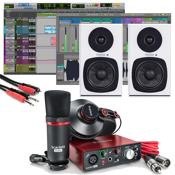 Focusrite Scarlett Solo Studio (2nd Gen) Pro Tools First Recording Pack with Fostex PM0.4d Monitors White