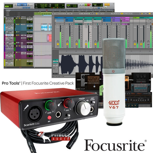 Focusrite Scarlett Solo (2nd Gen) Pro Tools First Recording Bundle with MXL V67 Pitbull Audio Edition Microphone and Cable