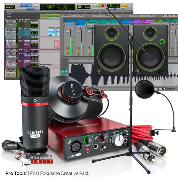 Focusrite Scarlett Solo Studio (2nd Gen) Pro Tools First Recording Bundle with Mackie CR3 Monitors