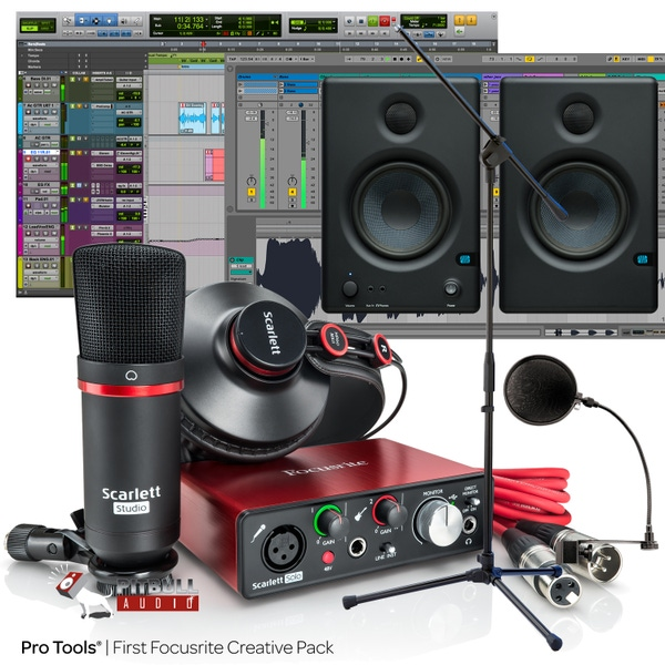 Focusrite Scarlett Solo Studio (2nd Gen) Pro Tools First Recording Bundle with Eris 4.5 Monitors