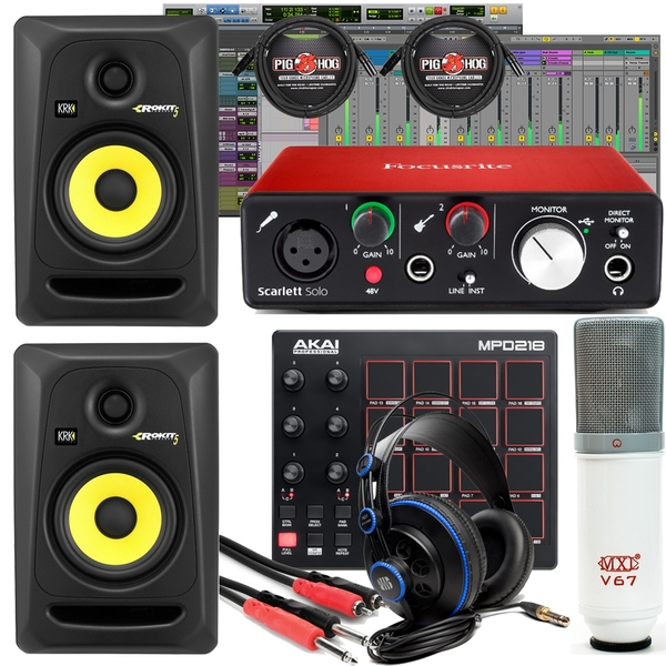 Focusrite Scarlett Solo 2ND Gen Interface + Akai Professional MPD218 + Presonus Headphones Studio Bundle