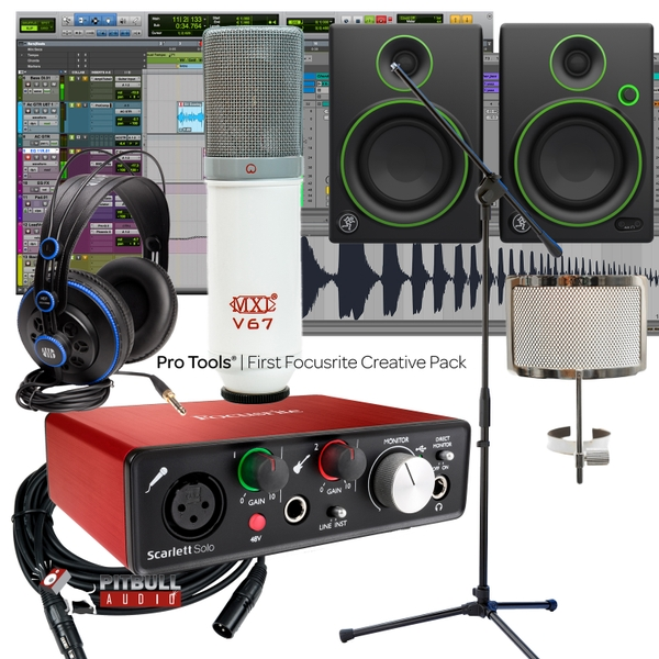 Focusrite Solo 2ND Gen Recording Interface + Mackie Monitors + MXL V67 P + Studio Bundle