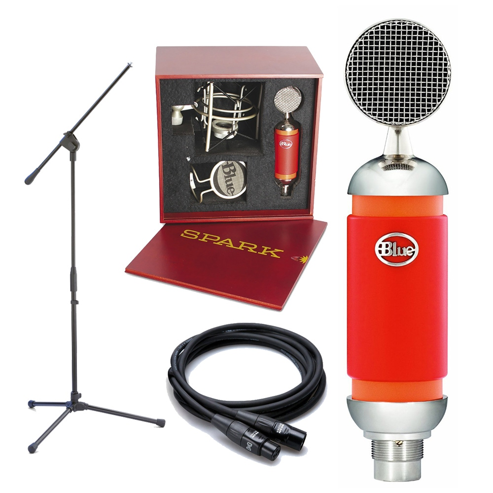pitbull audio blue spark studio condenser microphone with mic stand 25 ft xlr cable mount case. Black Bedroom Furniture Sets. Home Design Ideas