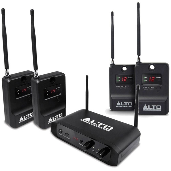 Alto Stealth Stereo Wireless System & Expander Pack Powered Active DJ Speakers