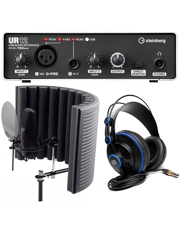 Steinberg UR12 USB Interface Recording Bundle with sE Electronics X1 Studio Pack, Software, and Headphones
