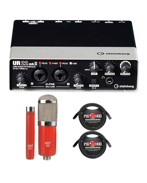 Steinberg UR22mkII USB Audio Interface with MXL Microphone Set and Cables