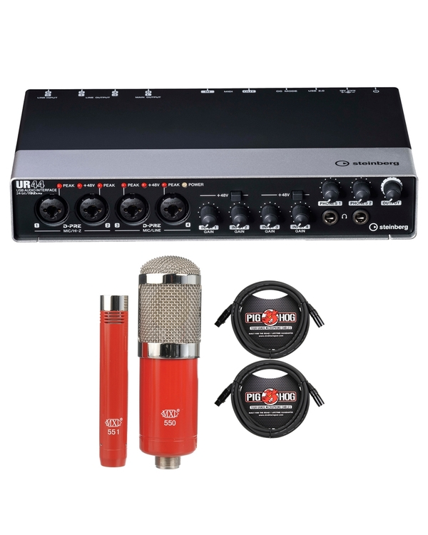 Steinberg UR44 USB 2.0 Audio Interface with MXL Microphone Set and XLR Cables