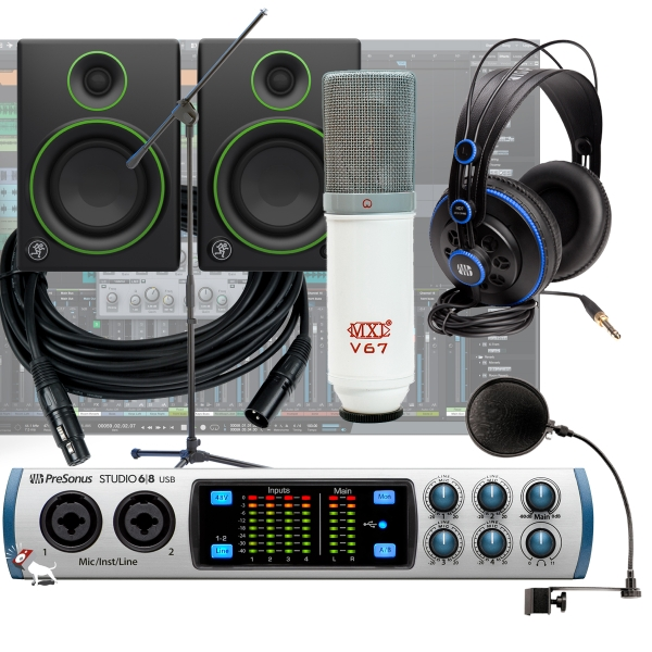 PreSonus Studio 68 -24 Bit 192 kHz, Audio/MIDI Interface + Mackie CR4 Monitors Recording Bundle