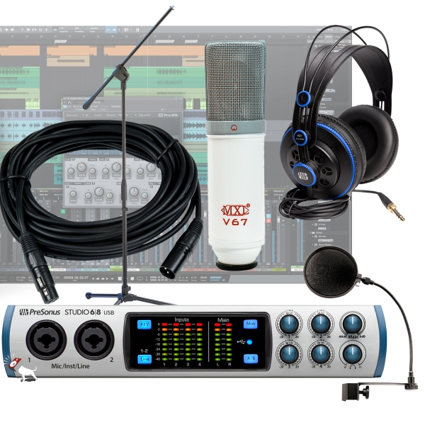 PreSonus Studio 68 -6 x 6 192 kHz, USB 24 Bit Audio/MIDI Interface Recording Bundle