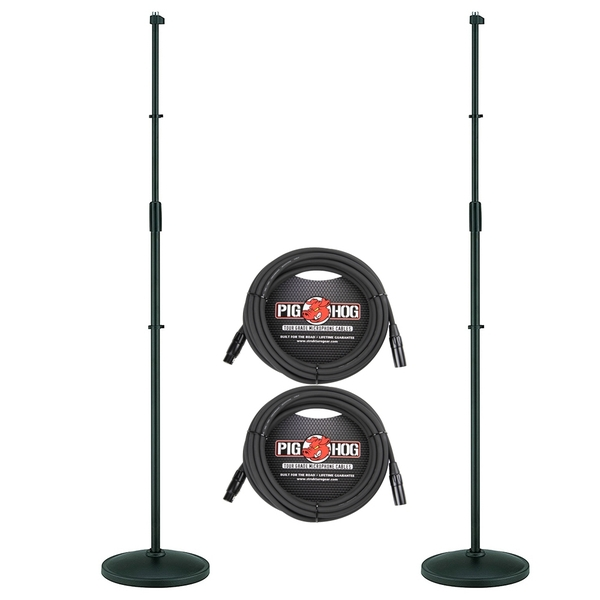 (2-Pack) Tama MS450DBK Iron Works Tour Round Base Straight Microphone Stands and Cables