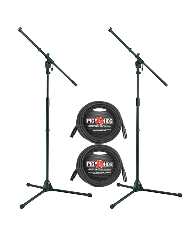 (2-Pack) Tama MS455BK Iron Works Tour Tripod Boom Microphone Stands and Cables