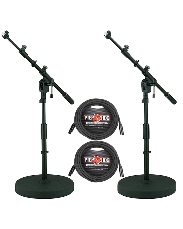 (2-Pack) Tama MS456RLBK Iron Works Tour Round Base Low-Profile Telescoping Boom Microphone Stands and Cables