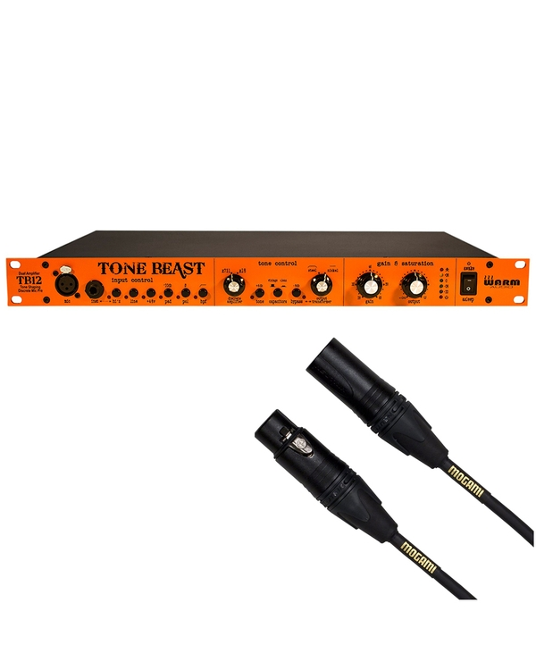 Warm Audio TB12 Tone Beast Microphone Preamp with 15 ft Mogami XLR Cable
