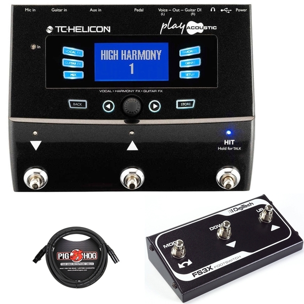 TC Helicon Play Acoustic Guitar & Vocal Effects Processor with Digitech FS3X Footswitch and Cable