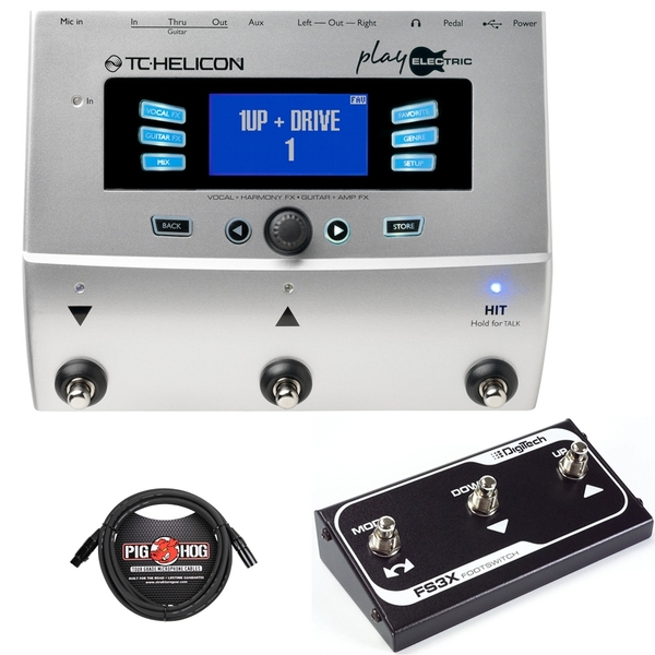 TC Helicon Play Electric 3-Button Voice Processor with Digitech FS3X Footswitch and Cable