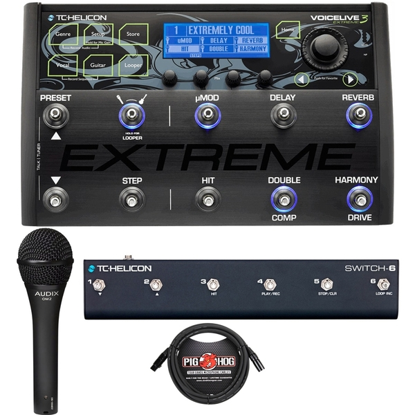 TC Helicon VoiceLive 3 Extreme Vocal & Guitar FX Processor with Switch 6, Audix OM2 Mic, & Cable