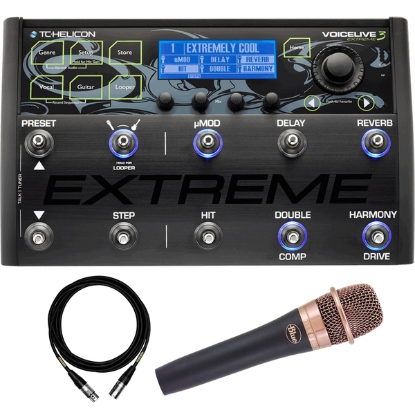 TC Helicon VoiceLive 3 Extreme Vocal/Guitar FX Processor with enCore 200 Microphone and Mogami Cable