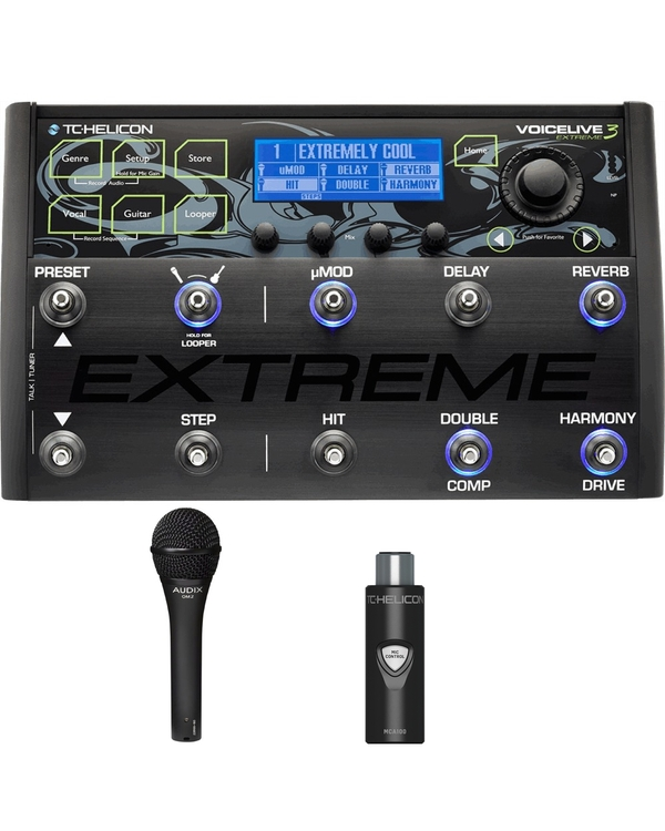 TC Helicon VoiceLive 3 Extreme Effects Processor with MCA100 Adapter and Audix OM2 Microphone