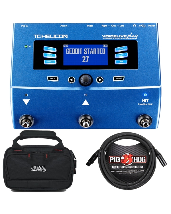TC Helicon VoiceLive Play Vocal Effects Processor with Carry Case and 10' XLR Mic Cable