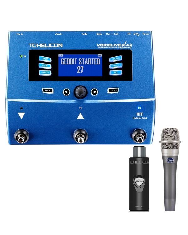 TC Helicon VoiceLive Play Effects Processor with MCA100 Adapter and Blue enCORE 100 Microphone