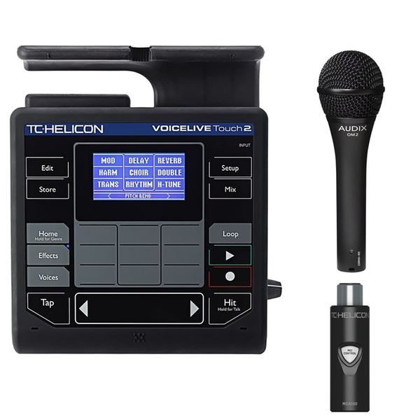 TC Helicon VoiceLive Touch 2 Effects Processor with MCA100 Adapter and Audix OM2 Microphone