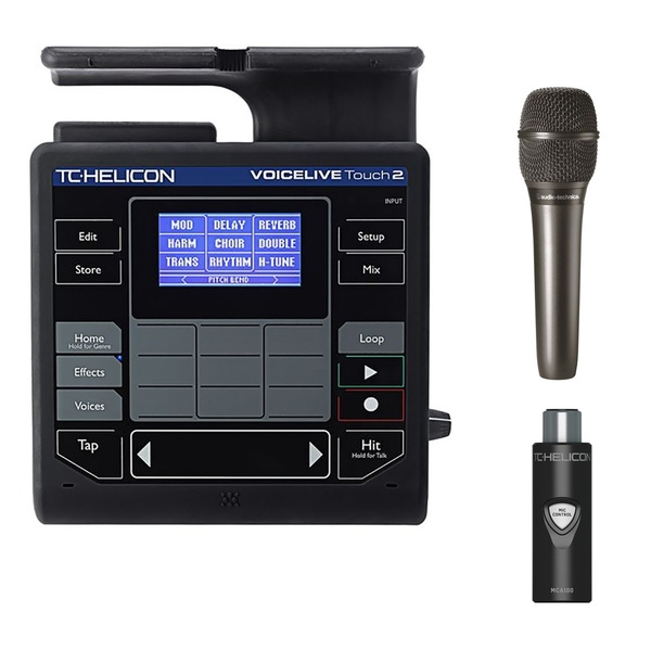 TC Helicon VoiceLive Touch 2 Effects Processor with MCA100 Adapter and Audio-Technica AT2010 Microphone