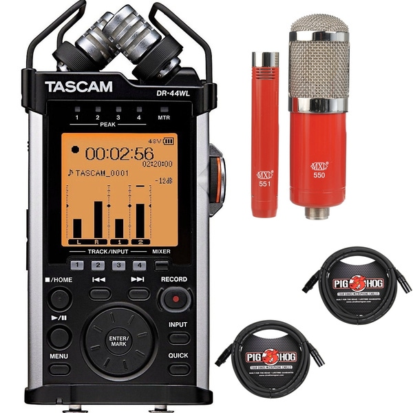 Tascam DR-44WL Portable Handheld Recorder with MXL Microphone Set and XLR Cables