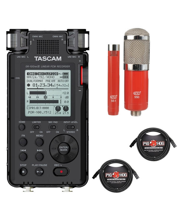 Tascam DR-100 MKIII Linear PCM Recorder with MXL Microphone Set and XLR Cables