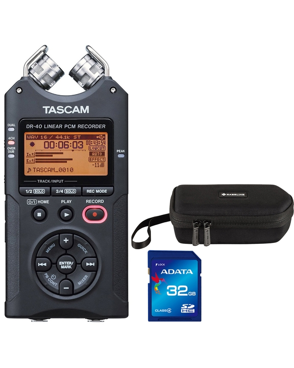 Tascam DR-40 Portable Digital Recorder with Carry Case and 32GB Memory Card