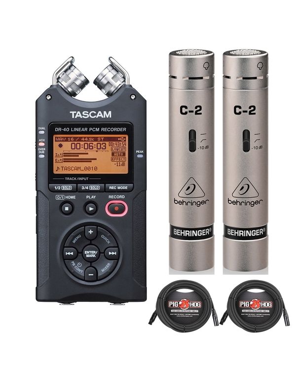 Tascam DR-40 Handheld PCM Recorder with Behringer C-2 Condenser Microphones and 25ft XLR Cables