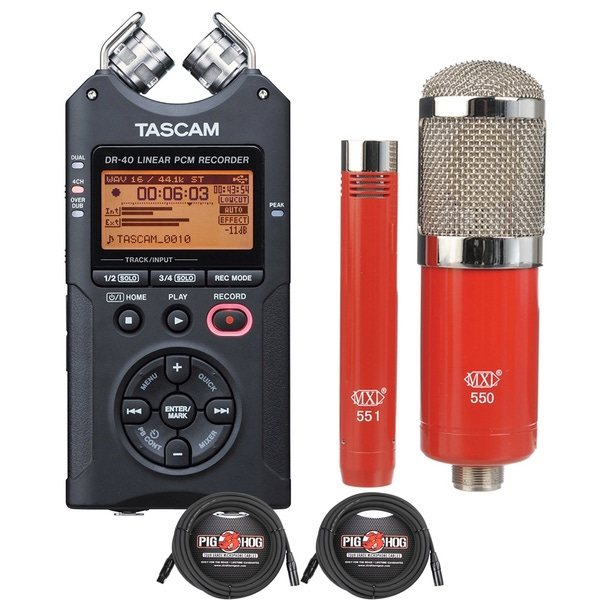 Tascam DR-40 Handheld Recorder with MXL Microphone Set and XLR Cables