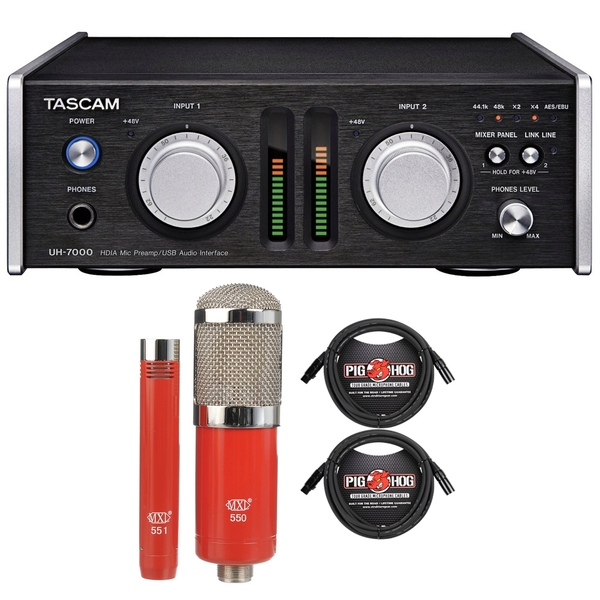 Tascam UH-7000 High-End USB Audio Interface with MXL Microphone Set and XLR Cables
