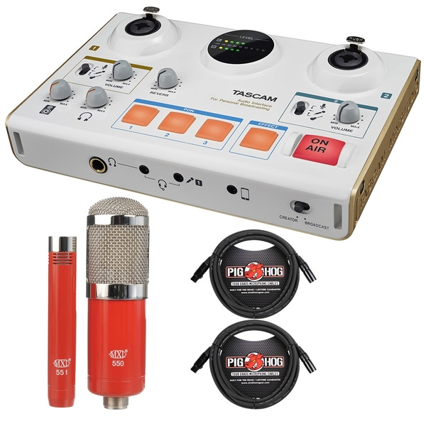 Tascam US-42 MiNiSTUDIO Creator Audio Interface with MXL Microphone Set and Cables