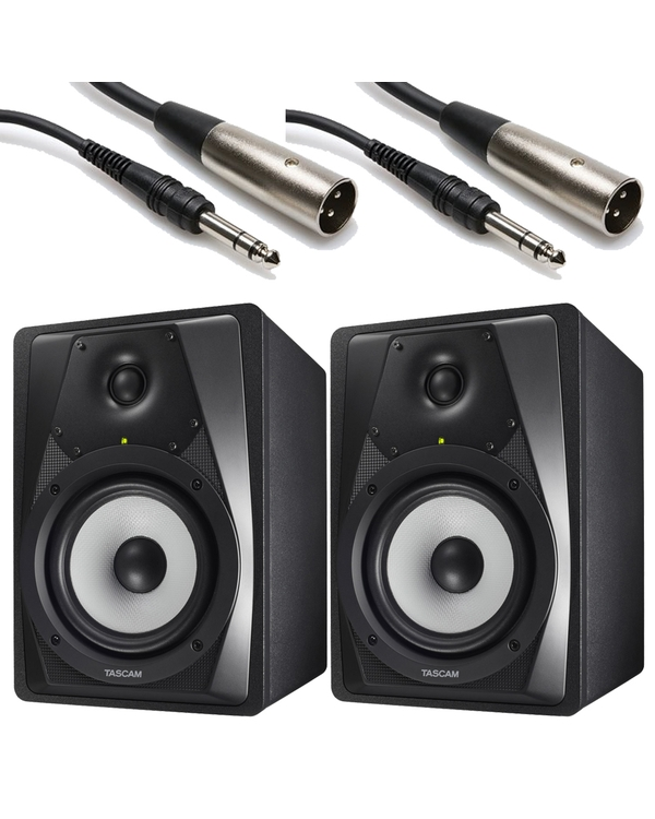 Tascam VLS5 Professional 2-way Studio Monitor Pair with 10 ft XLR-TRS Cables
