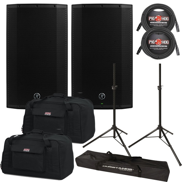 Mackie Thump TH-12A 1300W Powered Speaker Pair with Gator Bags, Cables, and Stands