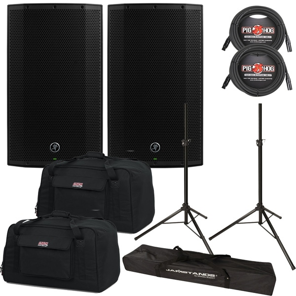Mackie Thump TH-12A 1300W Boosted Powered Speaker Pair with Gator Bags, Cables, and Stands