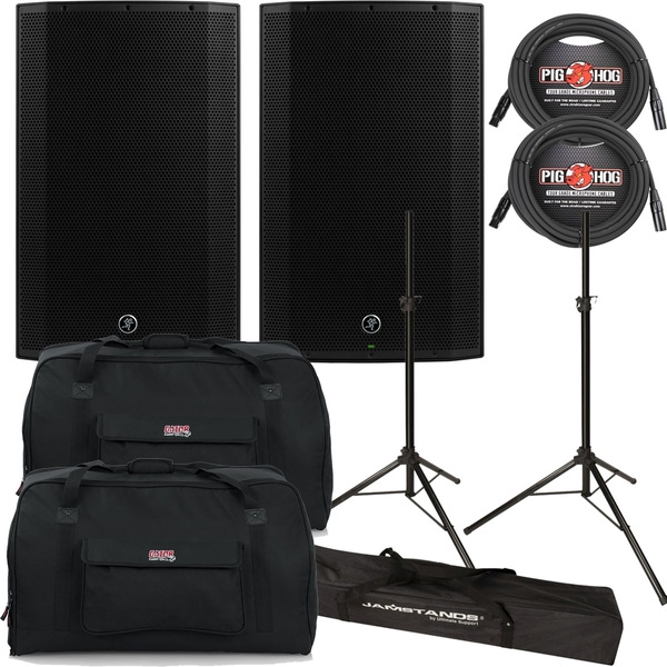 Mackie Thump TH-15A 1300W Powered Speaker Pair with Gator Bags, Cables, and Stands