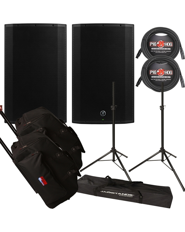 Mackie Thump 15A 1300W Powered Speaker Pair w/ Gator Road Tote Bags, Cables, and Stands