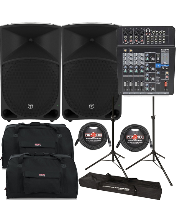 MACKIE THUMP15 POWERED SPEAKERS + SAMSON MIXER + STANDS + BAGS + CABLES PACKAGE BUNDLE