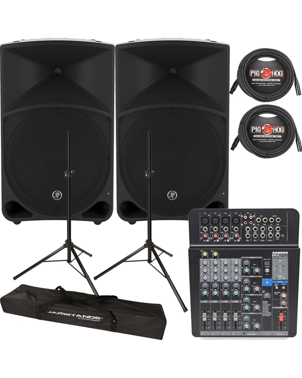 MACKIE THUMP15 POWERED SPEAKER + PA MIXER + STANDS + BAGS + CABLES BUNDLE