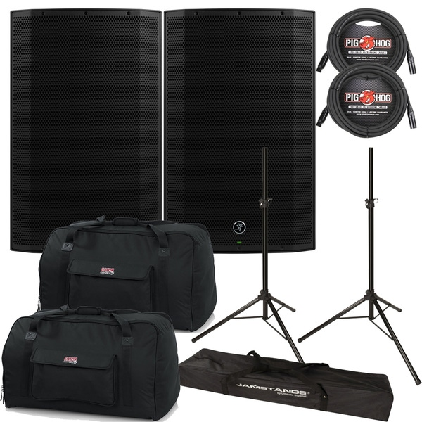 Mackie Thump TH-15A 1300W Boosted Powered Speaker Pair with Gator Bags, Cables, and Stands